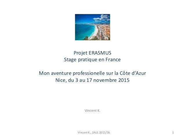 Projet ERASMUS Stage pratique en France Mon aventure professionelle sur la Côte d'Azur Nice, du 3 au 17 novembre 2015 Vinc...