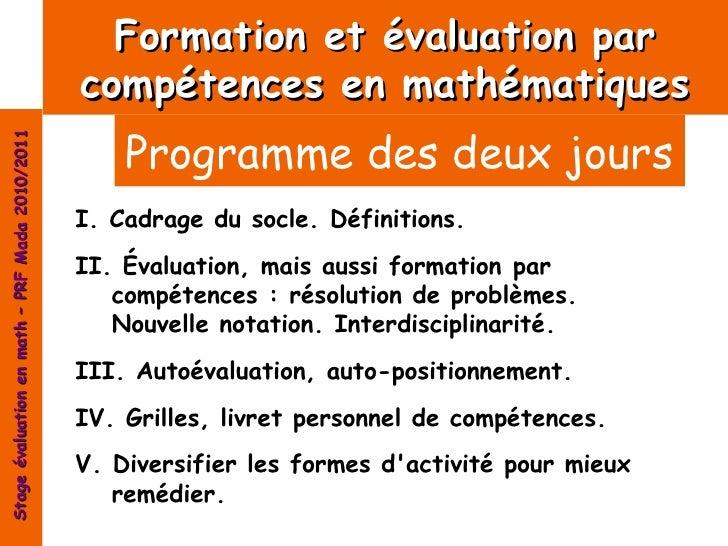 Formation et évaluation par                                                compétences en mathématiques                   ...