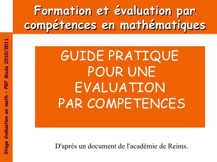 Formation et évaluation par                                                compétences en mathématiquesStage évaluation en...