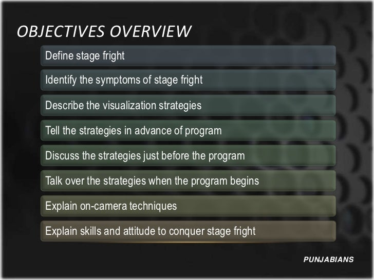 OBJECTIVES OVERVIEW   Define stage fright   Identify the symptoms of stage fright   Describe the visualization strategies ...