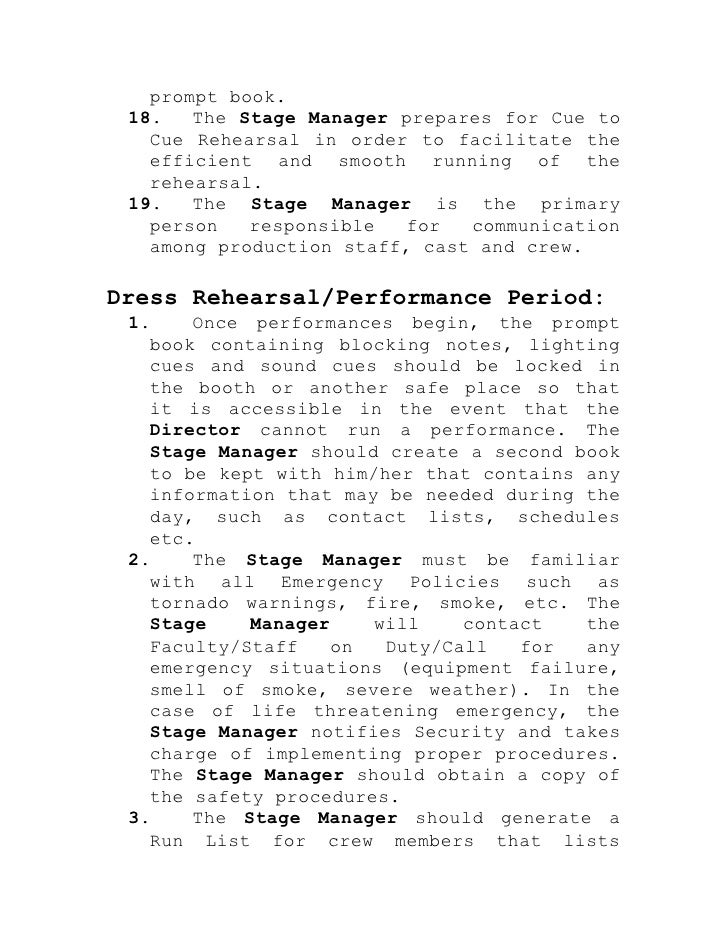 stage manager u2019s responsibilities