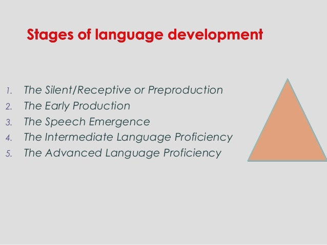 1. The Silent/Receptive or Preproduction 2. The Early Production 3. The Speech Emergence 4. The Intermediate Language Prof...