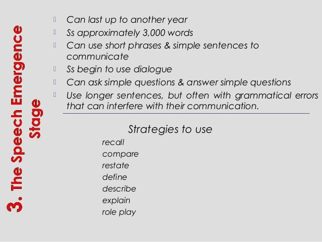  Can last up to another year  Ss approximately 3,000 words  Can use short phrases & simple sentences to communicate  S...