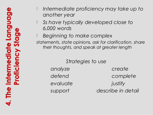  Intermediate proficiency may take up to another year  Ss have typically developed close to 6,000 words  Beginning to m...