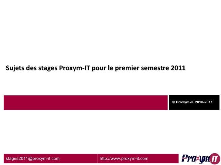 Stage pfe proxym-it_2011
