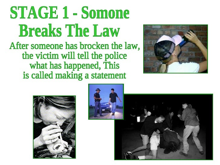 STAGE 1 - Somone Breaks The Law After someone has brocken the law, the victim will tell the police what has happened, This...