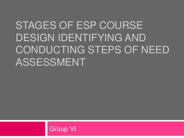 STAGES OF ESP COURSEDESIGN IDENTIFYING ANDCONDUCTING STEPS OF NEEDASSESSMENTGroup VI