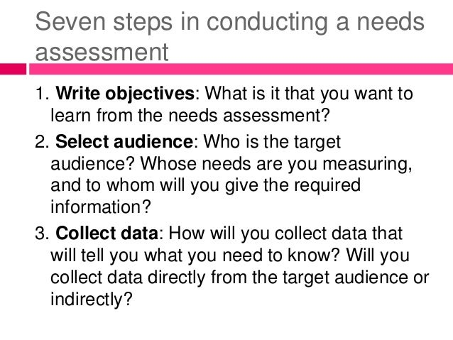 how to make needs assessment