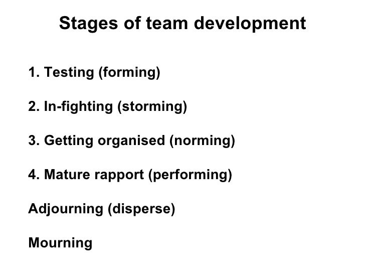 Stages of team development 1. Testing (forming) 2. In-fighting (storming) 3. Getting organised (norming) 4. Mature rapport...