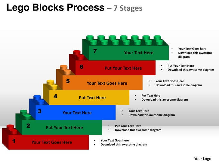 stages planning lego blocks process 7 stages powerpoint templates