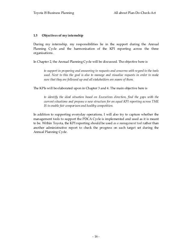 ToyotaISBusinessPlanning                                        AllaboutPlan‐Do‐Check‐Act1.5 Objectivesofmyint...
