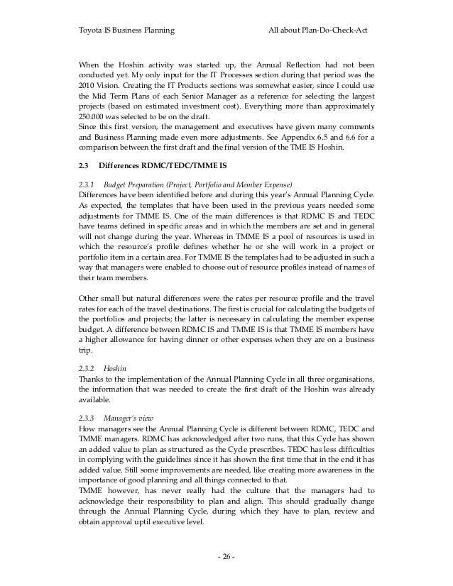 ToyotaISBusinessPlanning                                  AllaboutPlan‐Do‐Check‐ActWhen the Hoshin activity wa...