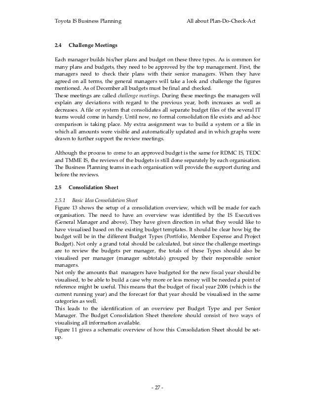 ToyotaISBusinessPlanning                                  AllaboutPlan‐Do‐Check‐Act2.4 ChallengeMeetingsEachma...