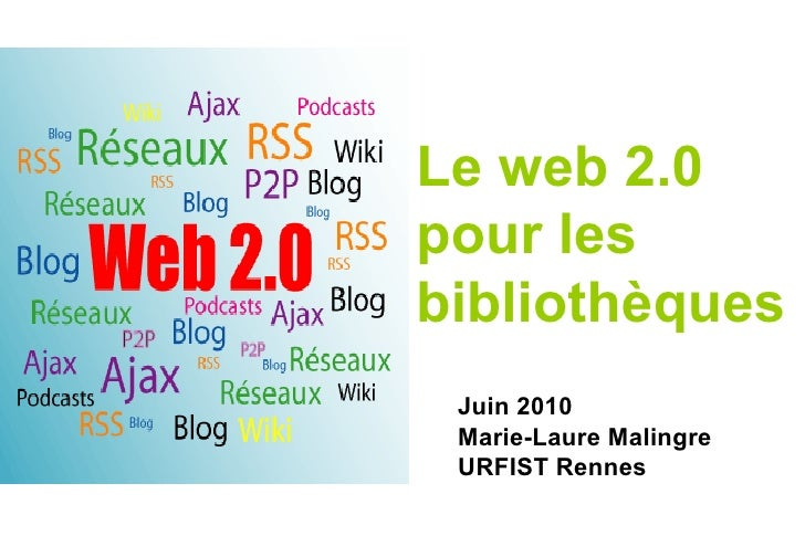 Le web 2.0 pour les bibliothèques Juin 2010 Marie-Laure Malingre URFIST Rennes