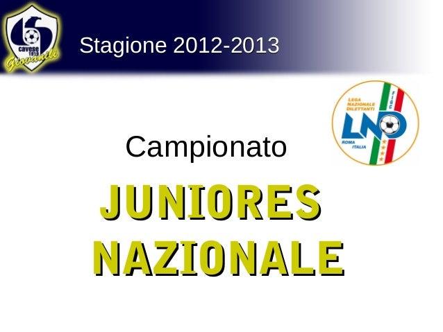 Stagione 2012-2013Stagione 2012-2013CampionatoJUNIORESJUNIORESNAZIONALENAZIONALE