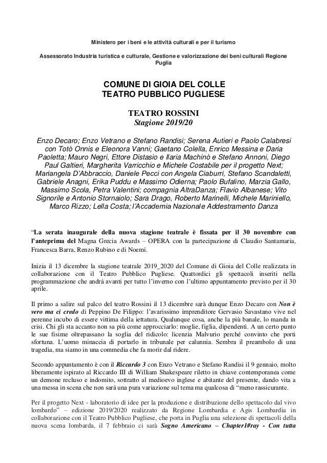 Ministero per i beni e le attività culturali e per il turismo Assessorato Industria turistica e culturale, Gestione e valo...