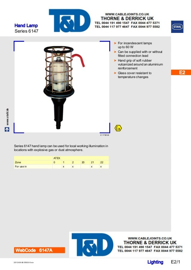 Stahl 6147 Hand Lamp With Mains Connection - ATEX Zone 1 Zone 2 Hazar…