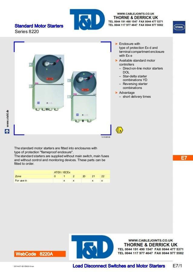 stahl 8220 direct on line dol motor starters atex zone 1 zone 2 h. Black Bedroom Furniture Sets. Home Design Ideas