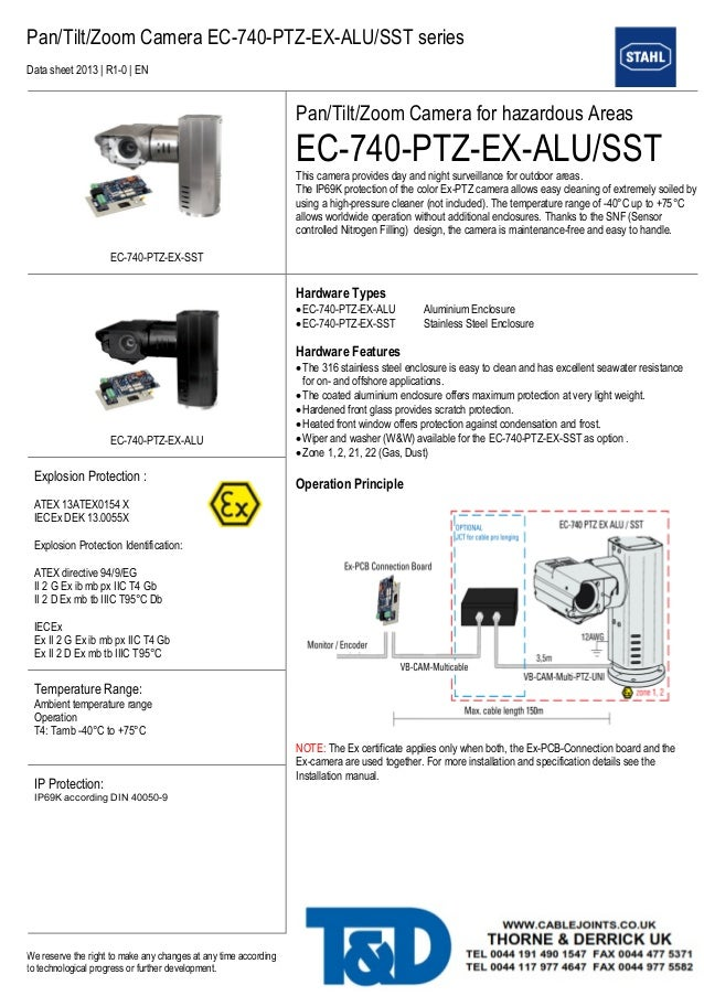 Pan/Tilt/Zoom Camera EC-740-PTZ-EX-ALU/SST series  Data sheet 2013 | R1-0 | EN  We reserve the right to make any changes a...