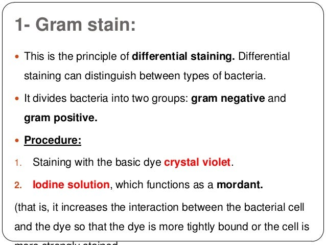 what are the advantages of differential staining procedures over the simple staining technique Staining the simple stain uses only one stain, which dyes all the microorganisms , the same color  from another the differential staining technique is the one  more often used in the  stained pink the procedure uses four solutions a  crystal violet solution, an  that will give one the advantage over the other  filament type.