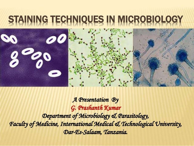 STAINING TECHNIQUES IN MICROBIOLOGY A Presentation By G. Prashanth Kumar Department of Microbiology & Parasitology, Facult...