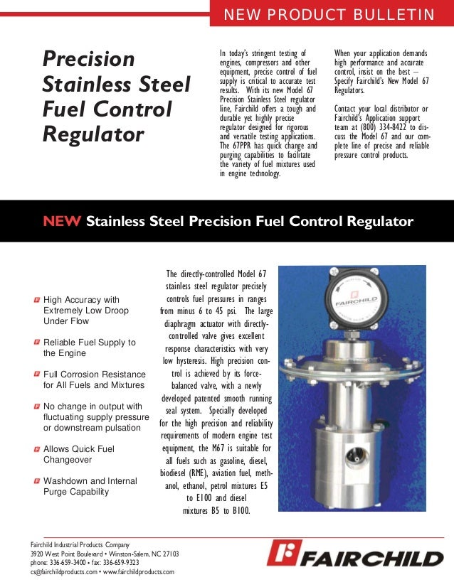 Precision Stainless Steel Fuel Control Regulator In today's stringent testing of engines, compressors and other equipment,...