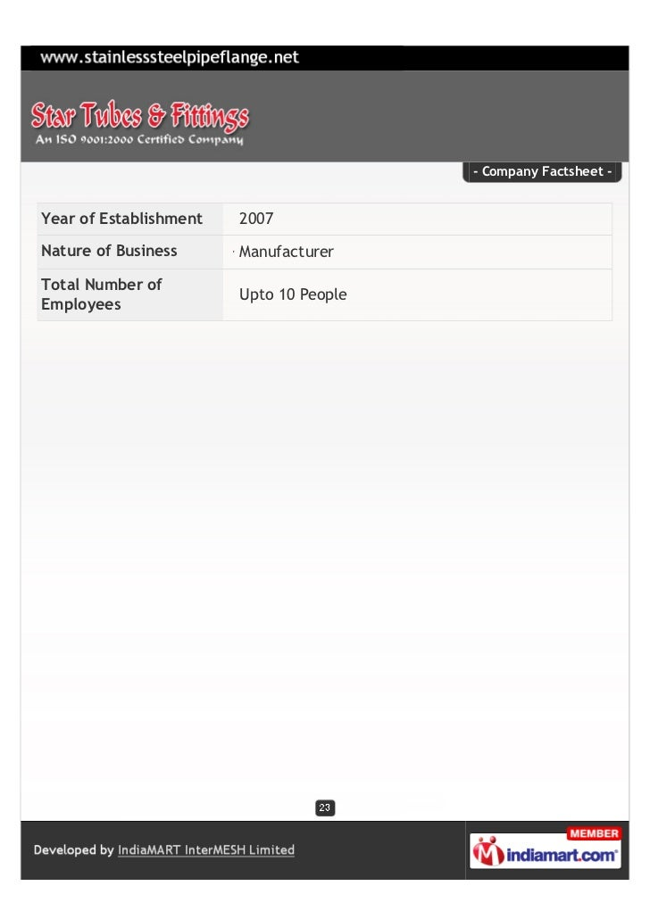 - Company Factsheet -Year of Establishment   2007Nature of Business      ManufacturerTotal Number of                      ...
