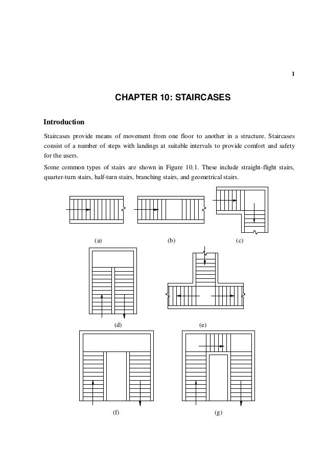 1 10 CHAPTER 10: STAIRCASES Introduction Staircases provide means of movement from one floor to another in a structure. St...