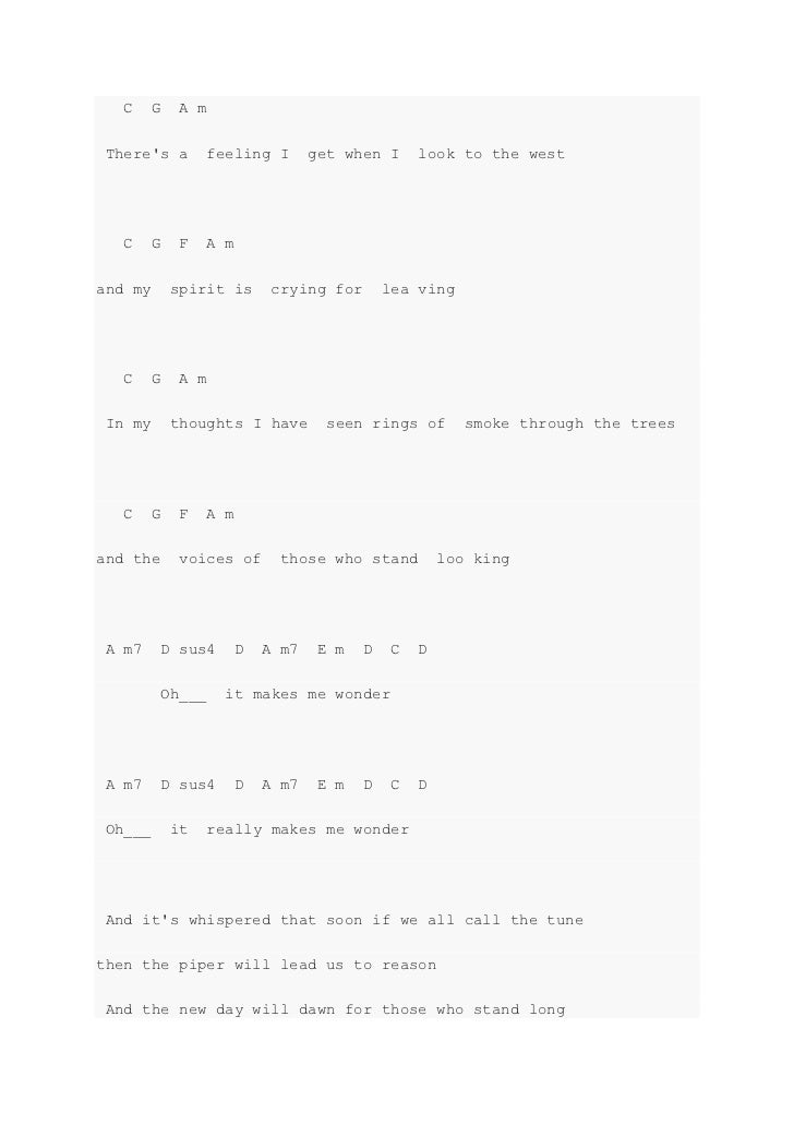 Stairway to heaven chords pdf