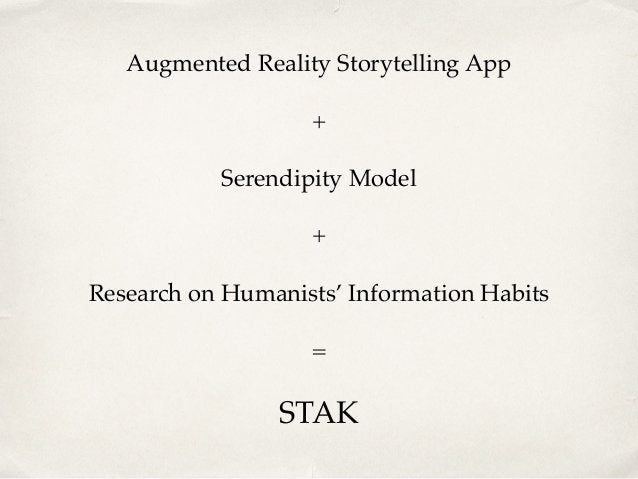 Augmented Reality Storytelling App! +! Serendipity Model! +! Research on Humanists' Information Habits! = ! STAK
