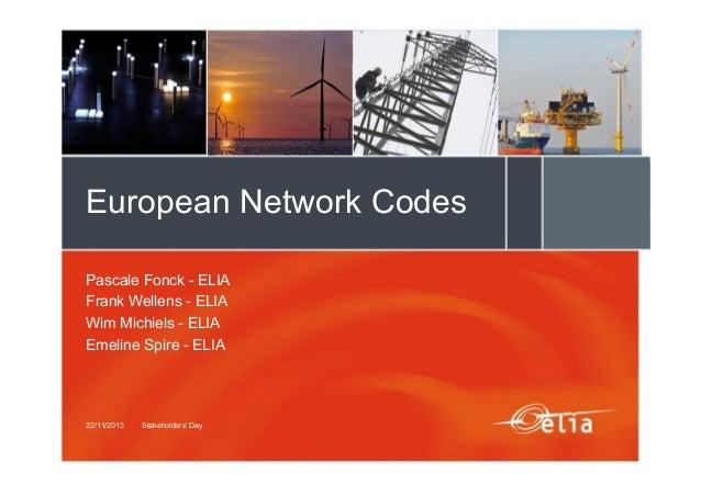 European Network Codes Pascale Fonck - ELIA Frank Wellens - ELIA Wim Michiels - ELIA Emeline Spire - ELIA  22/11/2013  Sta...