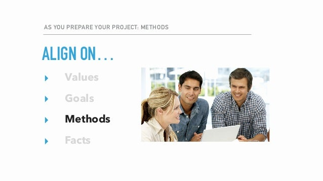 AS YOU PREPARE YOUR PROJECT: METHODS ▸ Values ▸ Goals ▸ Methods ▸ Facts ▸ Values ▸ Goals ▸ Methods ▸ Facts ALIGN ON…
