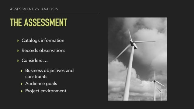 ASSESSMENT VS. ANALYSIS THE ASSESSMENT ▸ Catalogs information ▸ Records observations ▸ Considers … ▸ Business objectives a...