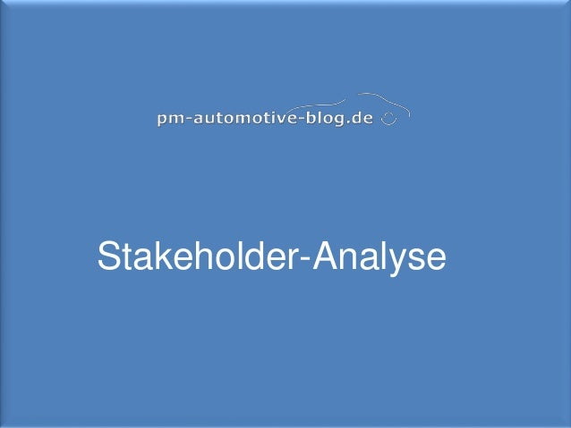 1 Stakeholder-Analyse