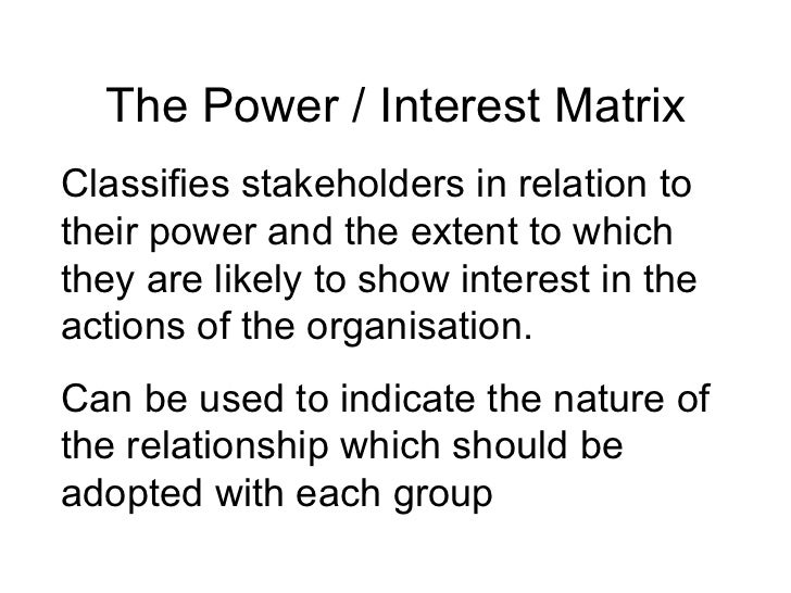 Stakeholder Analysis – Power Interest Matrix