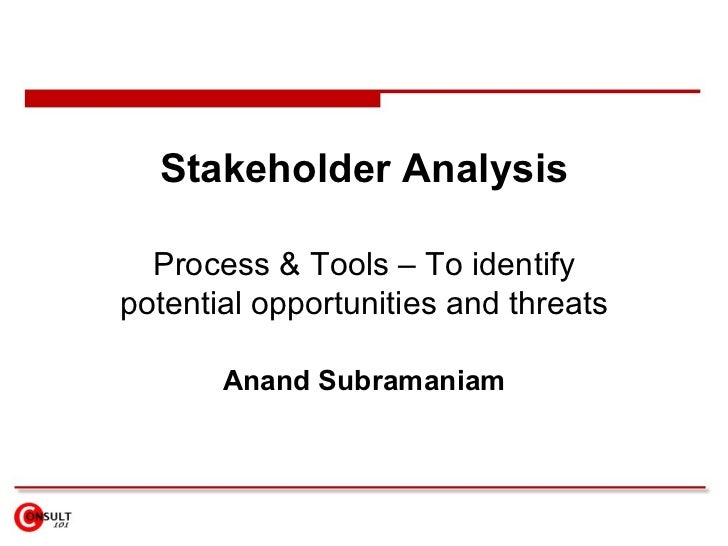 Stakeholder Analysis Process & Tools – To  identify potential opportunities and threats Anand Subramaniam