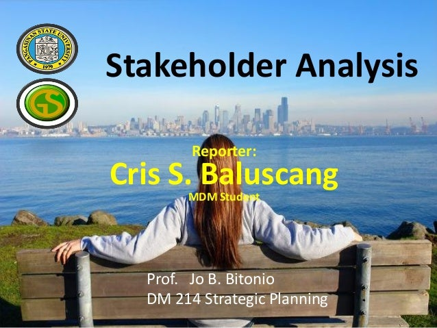 Stakeholder Analysis Reporter: Cris S. Baluscang MDM Student Prof. Jo B. Bitonio DM 214 Strategic Planning