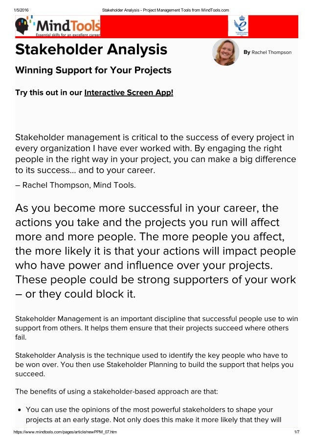 Stakeholder Analysis Project Management Tools From Mind Tools