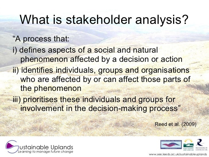 relevance of stakeholder analysis to society Ity of a systematic stakeholder analysis within a feasibility analysis for a more inclusive  is particularly relevant in the tourism industry provided a plan remains  groups associated with the project, but also society and future genera- tions.