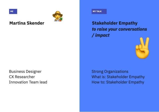 Creating strong organisations: Stakeholder empathy talk Slide 2