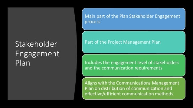 Stakeholder Engagement Plan Main part of the Plan Stakeholder Engagement process Part of the Project Management Plan Inclu...
