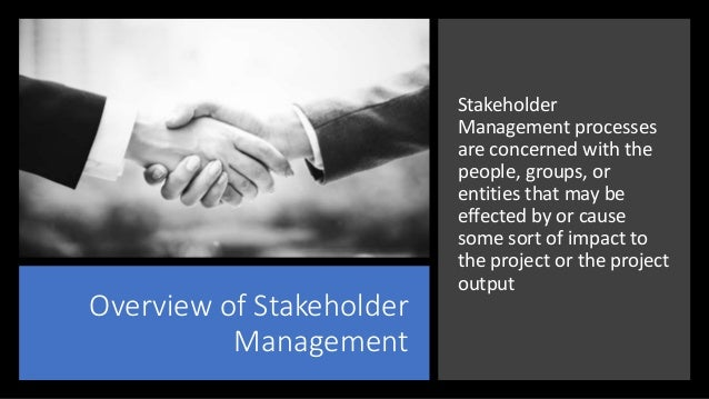 Overview of Stakeholder Management Stakeholder Management processes are concerned with the people, groups, or entities tha...
