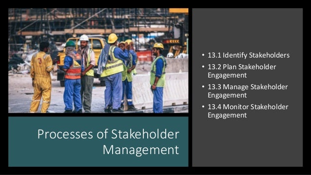 Processes of Stakeholder Management • 13.1 Identify Stakeholders • 13.2 Plan Stakeholder Engagement • 13.3 Manage Stakehol...