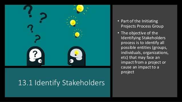 13.1 Identify Stakeholders • Part of the Initiating Projects Process Group • The objective of the Identifying Stakeholders...