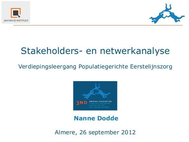 Stakeholders- en netwerkanalyseVerdiepingsleergang Populatiegerichte Eerstelijnszorg                   Nanne Dodde      ...