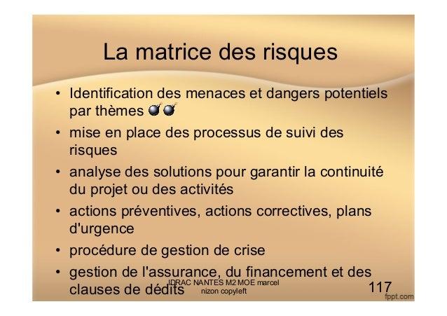 La matrice des risques • Identification des menaces et dangers potentiels par thèmes 💣💣 • mise en place des processus de...