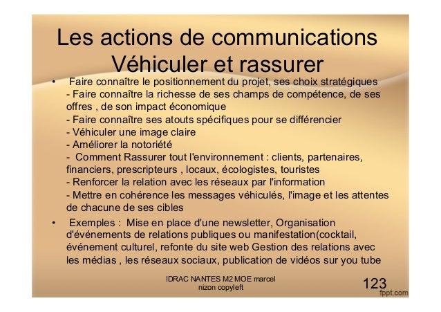 Les actions de communications Véhiculer et rassurer • Faire connaître le positionnement du projet, ses choix stratégiques...