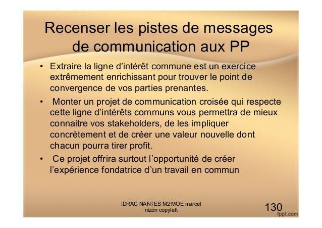 Recenser les pistes de messages de communication aux PP • Extraire la ligne d'intérêt commune est un exercice extrêmement...