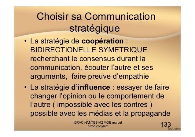 Choisir sa Communication stratégique • La stratégie de coopération : BIDIRECTIONELLE SYMETRIQUE recherchant le consensus ...