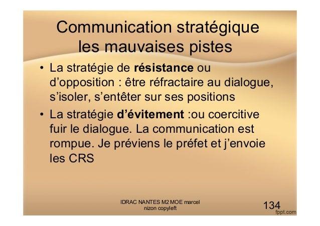 Communication stratégique les mauvaises pistes • La stratégie de résistance ou d'opposition : être réfractaire au dialogu...